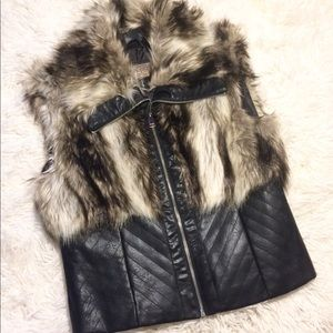 Brand New! Cavalini Faux Faur/Leather Vest Size L